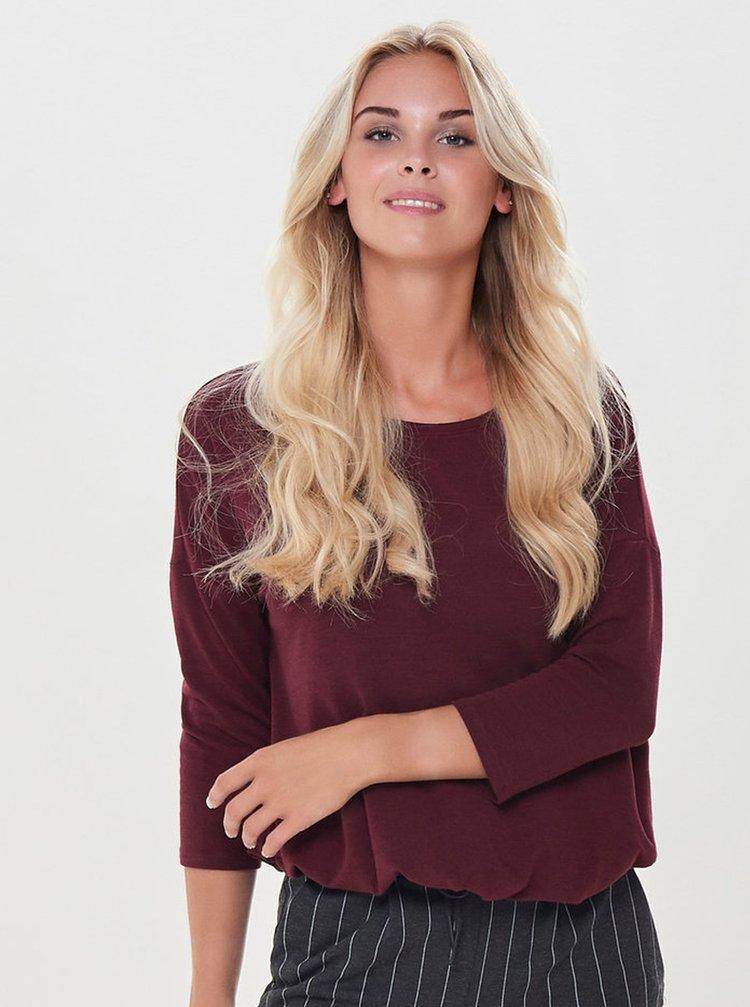 Vínové volné tričko ONLY Mida