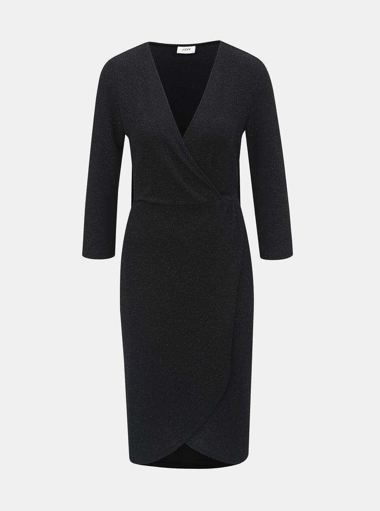 Černé třpytivé šaty s překládanou přední částí Jacqueline de Yong Carol