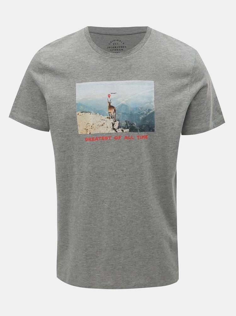 Sivé melírované tričko s potlačou Jack & Jones Social