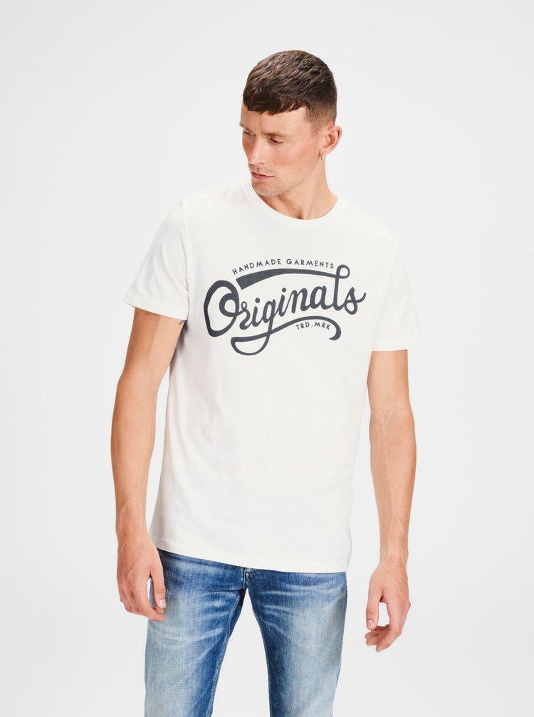 Tricou alb prafuit cu print - Jack & Jones New Raffa