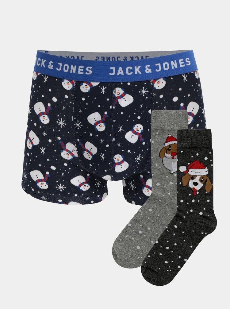 Sada dvou párů ponožek a boxerek s vánočním motivem v šedé a modré barvě Jack & Jones
