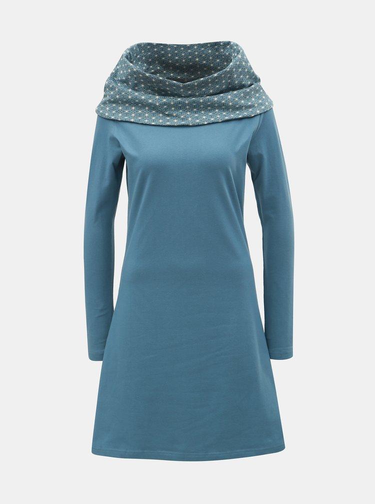 Rochie albastru deschis cu maneci lungi si guler cu model Tranquillo Thallo
