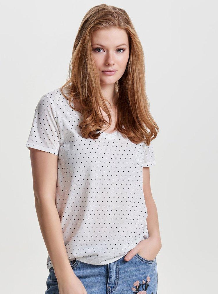 Krémové volné puntíkované tričko Jacqueline de Yong Cloud