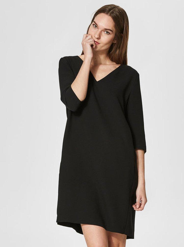 Černé šaty s véčkovým výstřihem Selected Femme Tunni