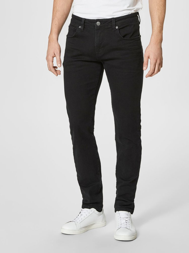 Čierne slim fit rifle Selected Homme Slim-leon