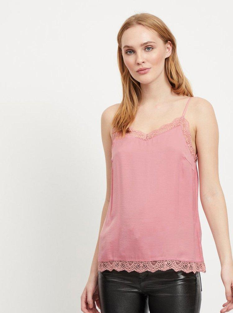 Růžový top s krajkou VILA Cava