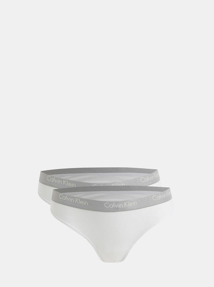 Balenie dvoch tanga nohavičiek v bielej farbe Calvin Klein Underwear