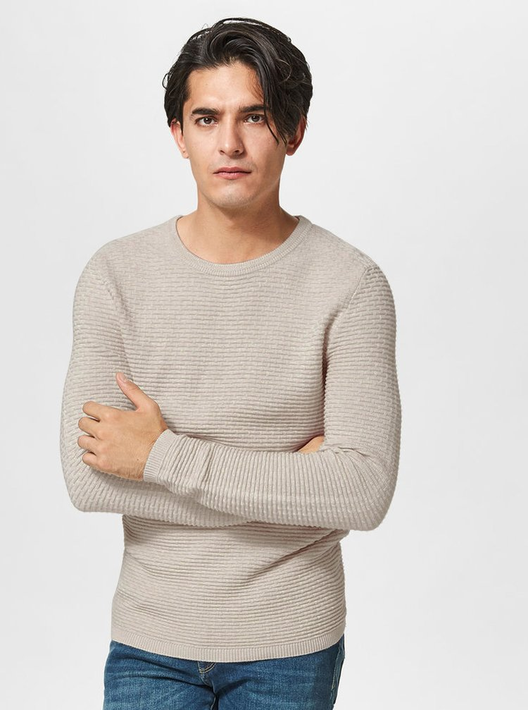 Béžový sveter Selected Homme New Dean
