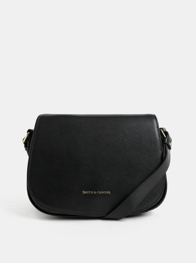 Čierna kožená crossbody kabelka Smith & Canova
