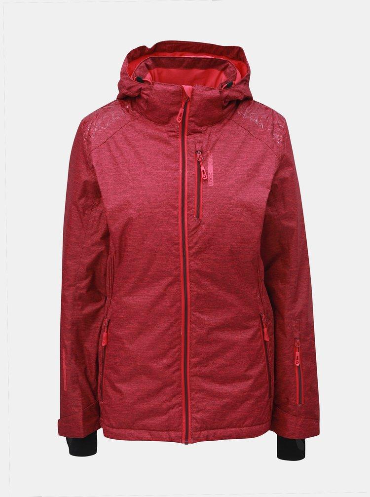 Tmavě růžová dámská žíhaná lyžařská bunda LOAP Francis