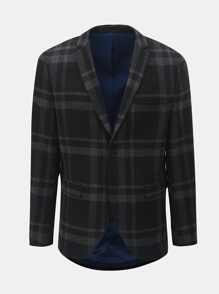Tmavosivé vlnené kockované oblekové sako Selected Homme Mylojole