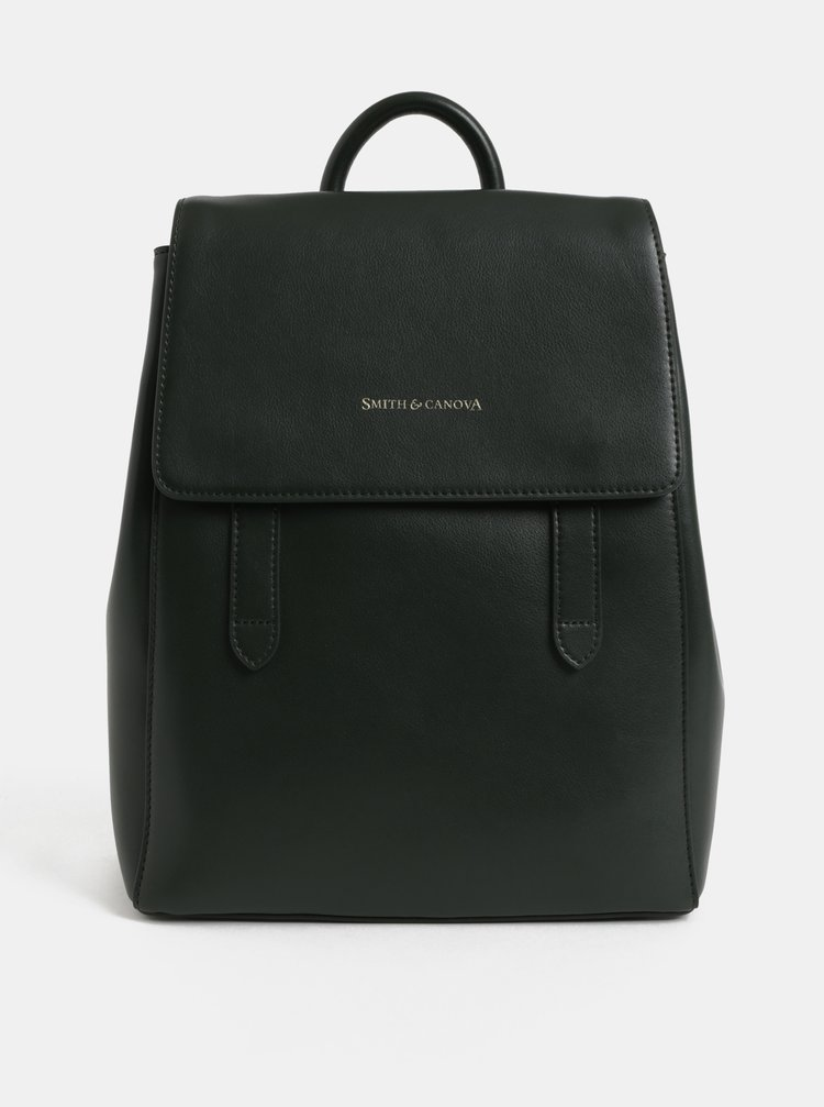 Tmavě zelený kožený batoh Smith & Canova