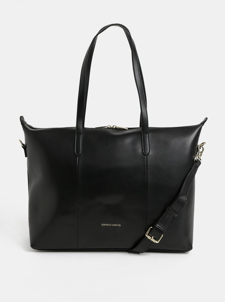 Černá kožená cestovní taška s kapsou na notebook Smith & Canova