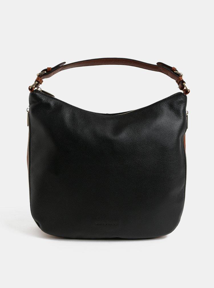 Hnědo-černá kožená kabelka se zipem Smith & Canova