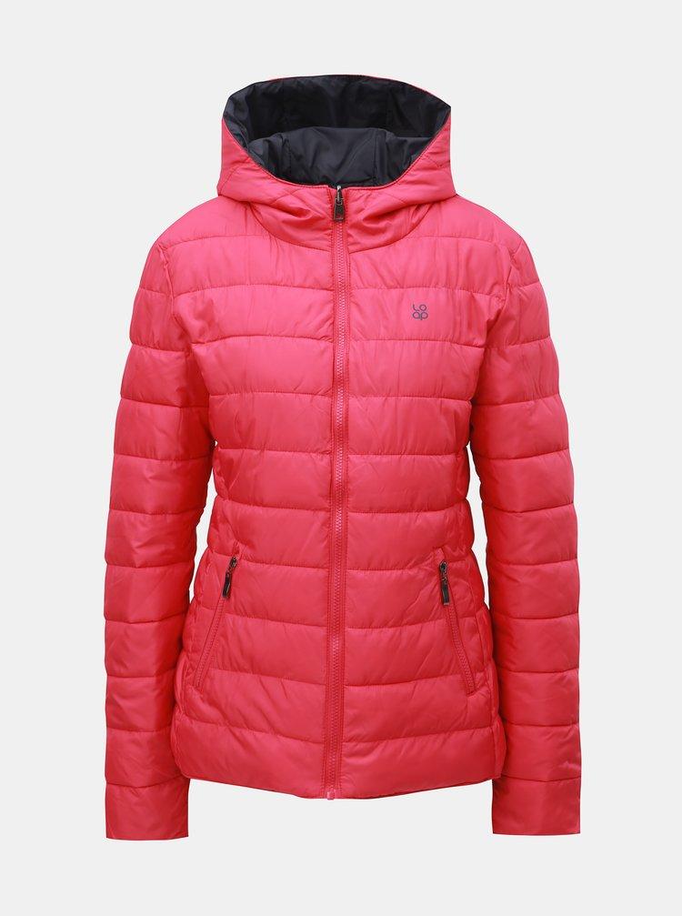 Šedo-růžová dámská oboustranná voděodpudivá bunda s kapucí LOAP Irisa
