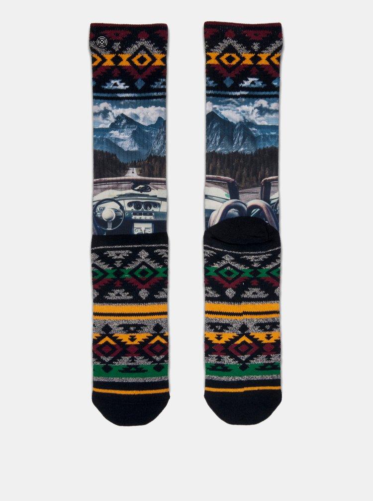 Modro–čierne pánsky ponožky s motívom horskej prírody XPOOOS