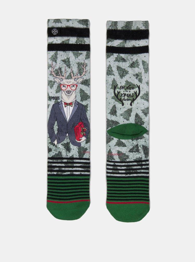Zelené pánske ponožky s motívom soba s darčekom XPOOOS