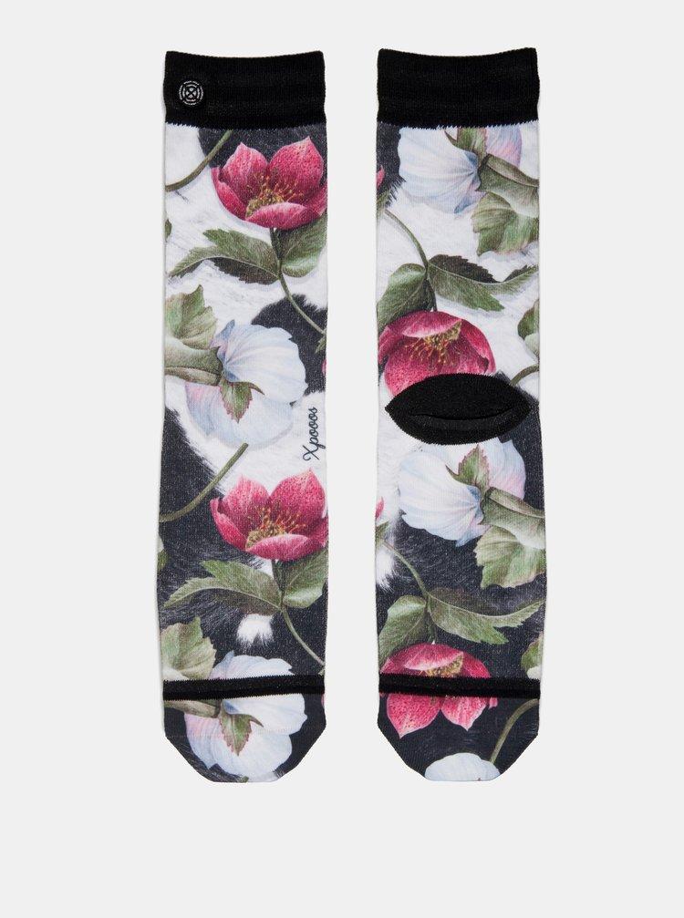 Sosete negru-alb florale de dama XPOOOS