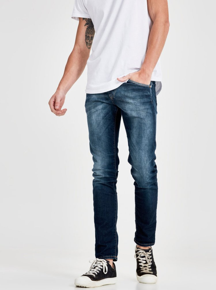 Blugi albastri cu aspect decolorat Jack & Jones Glenn