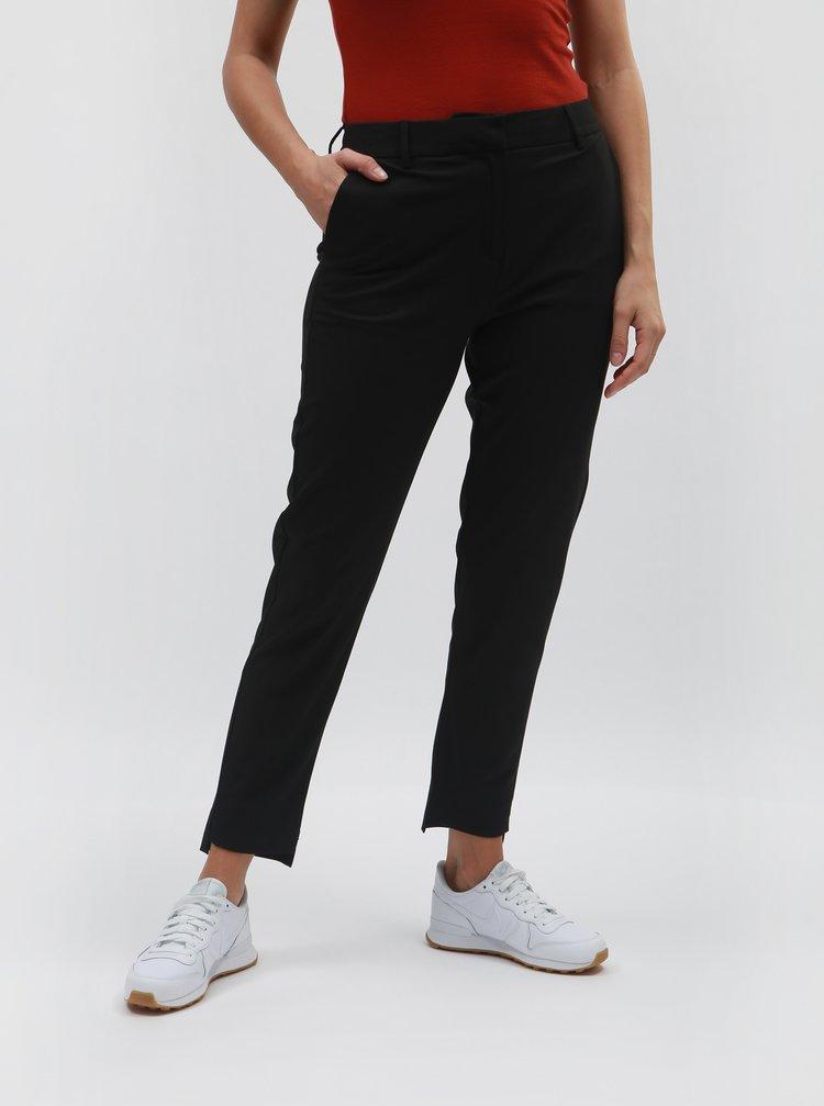Černé zkrácené kalhoty s vysokým pasem Selected Femme Famila