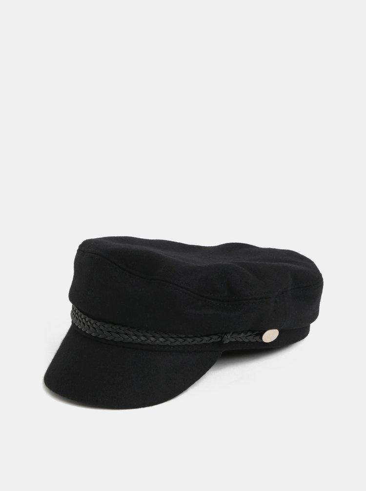 Bereta neagra cu cozoroc si amestec de lana Pieces
