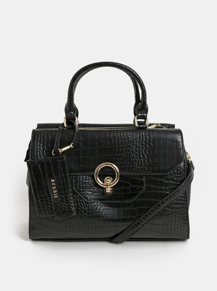 Geanta neagra cu animal print si portofel detasabil Bessie London