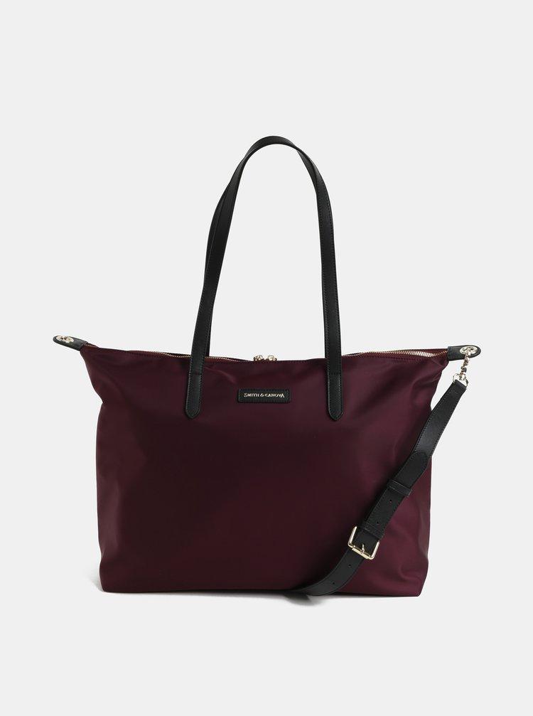 Vínová cestovní taška s kapsou na notebook a koženými detaily Smith & Canova