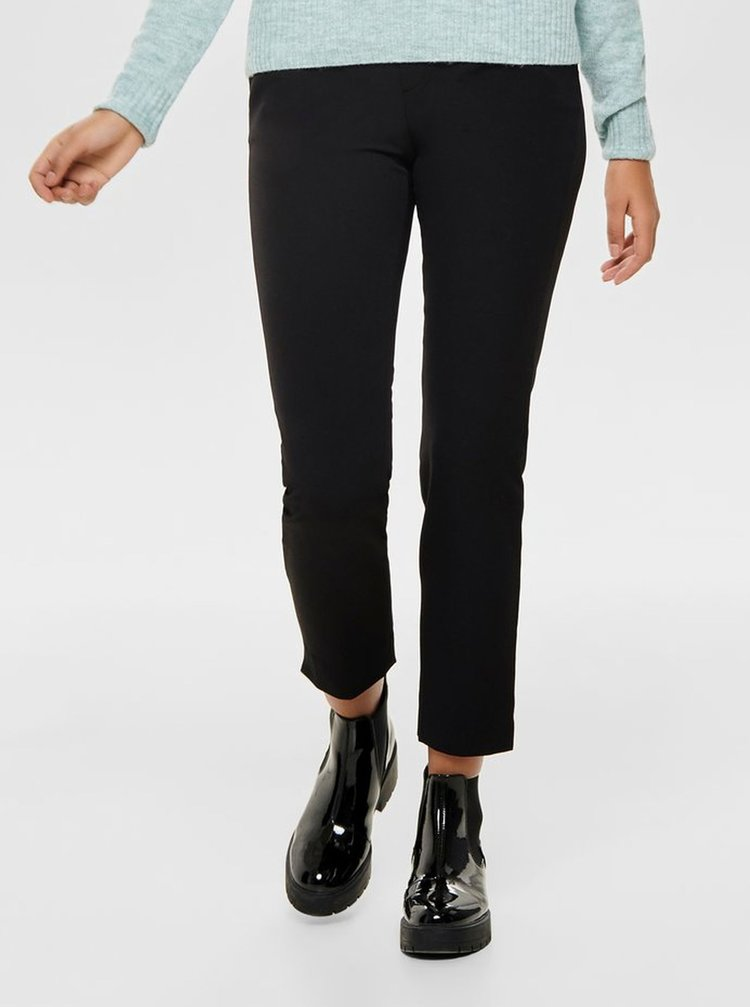 Černé zkrácené kalhoty s gumou v pase ONLY