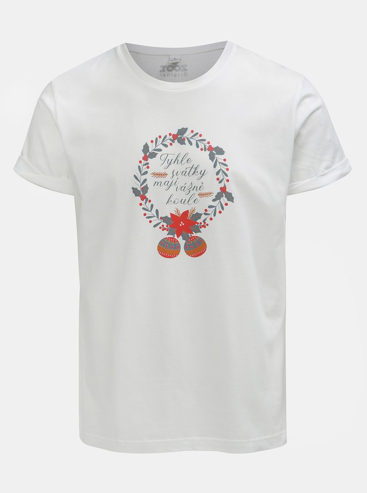 Bílé pánské tričko s potiskem ZOOT Original Svátky mají koule