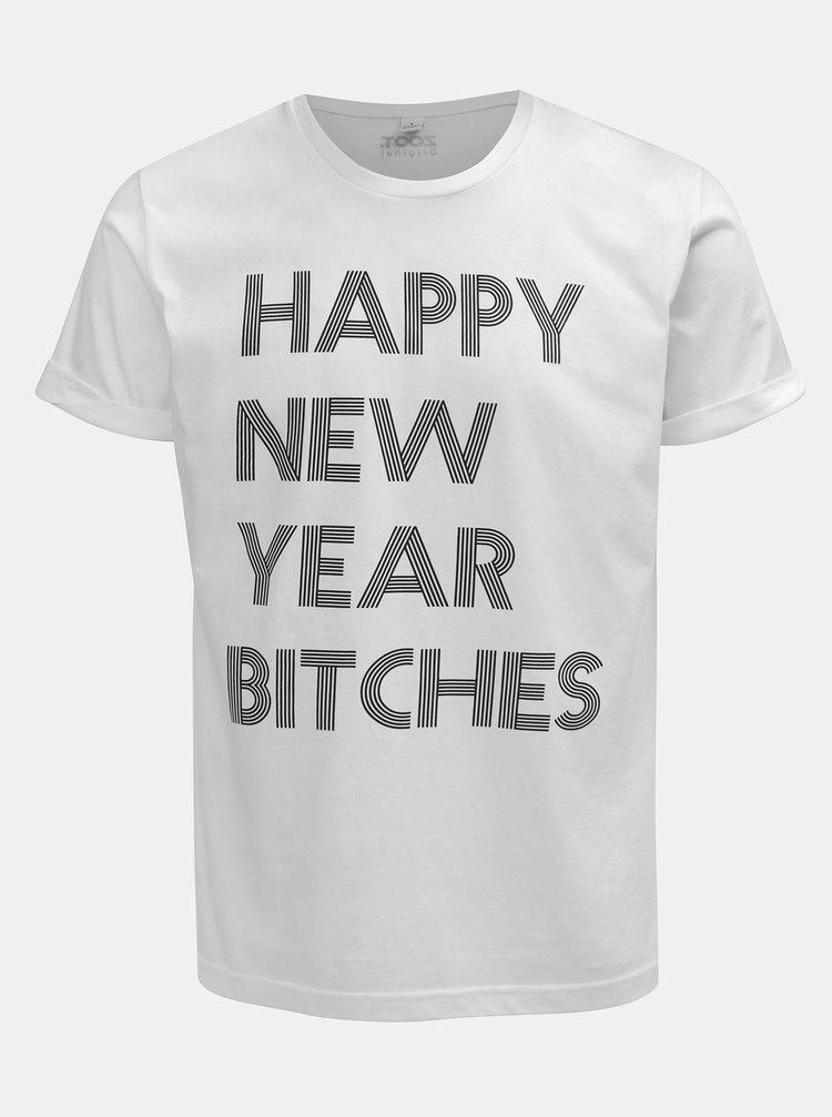 Bílé pánské tričko s potiskem ZOOT Original Happy New Year Bitches