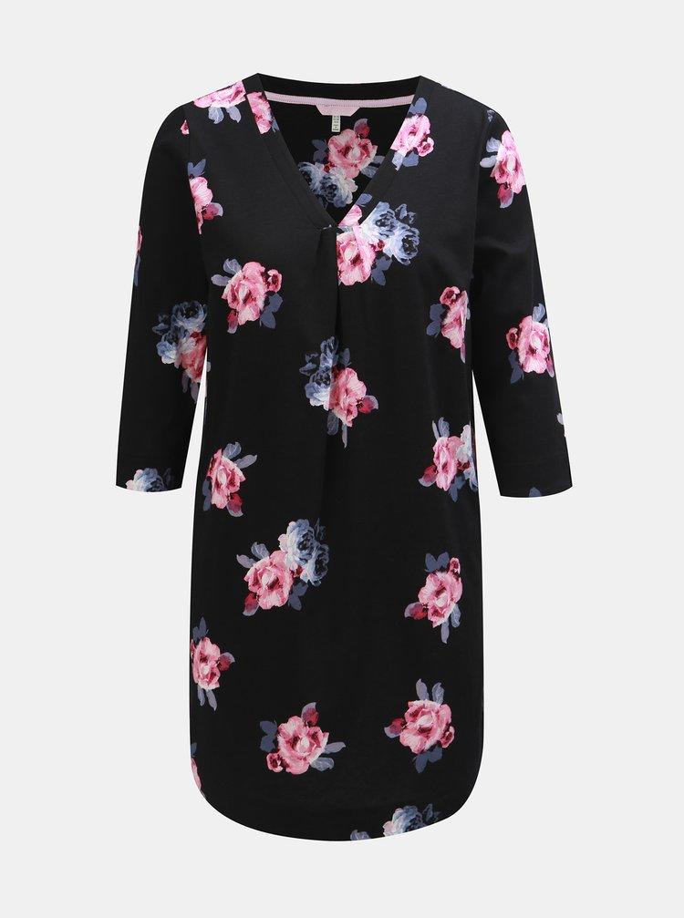 Černá dámská květovaná tunika s 3/4 rukávem Tom Joule