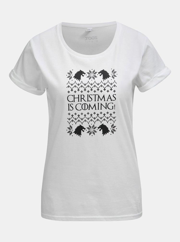 Bílé dámské tričko s potiskem ZOOT Original Christmas is coming