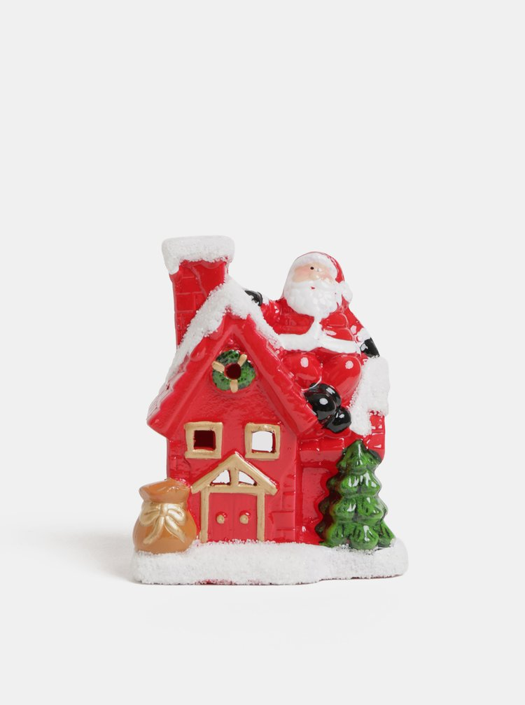 Červený vánoční svícen ve tvaru domečku se Santa Clausem SIFCON
