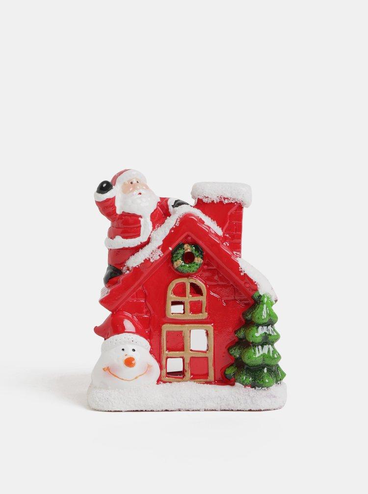 Červený vánoční svícen ve tvaru domečku se sněhulákem SIFCON