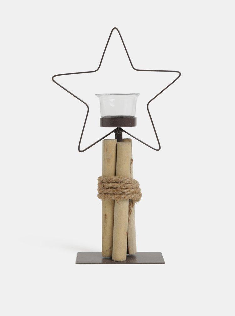 Hnedý kovový svietnik v tvare hviezdy Kaemingk