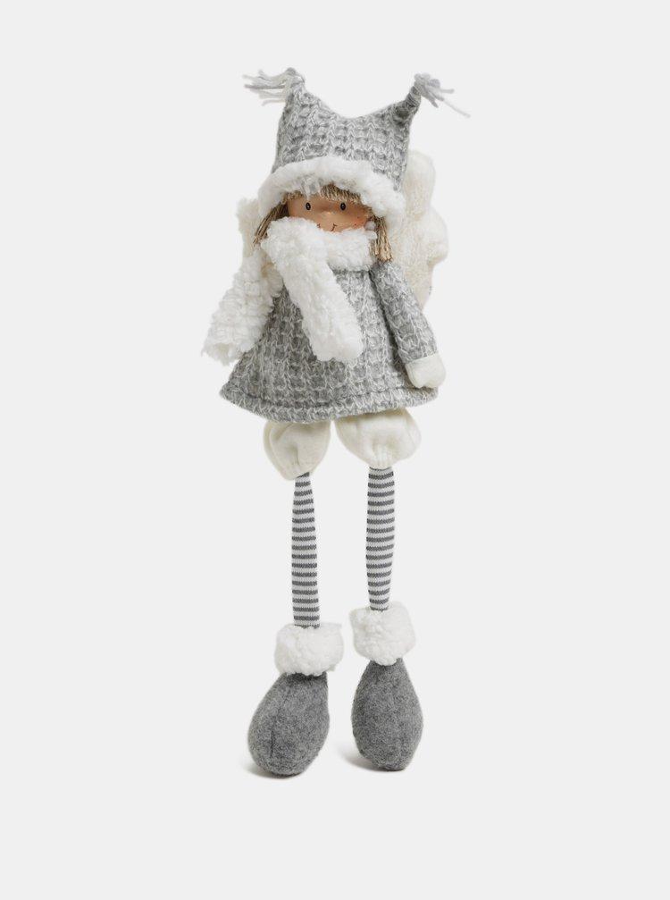 Figurina alb-gri ce poate sta asezata in forma de inger cu caciulita Kaemingk