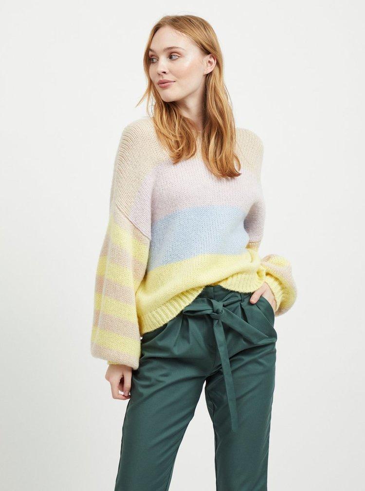 Béžovo-žlutý pruhovaný oversize svetr se širokými rukávy a s příměsí vlny VILA Strive