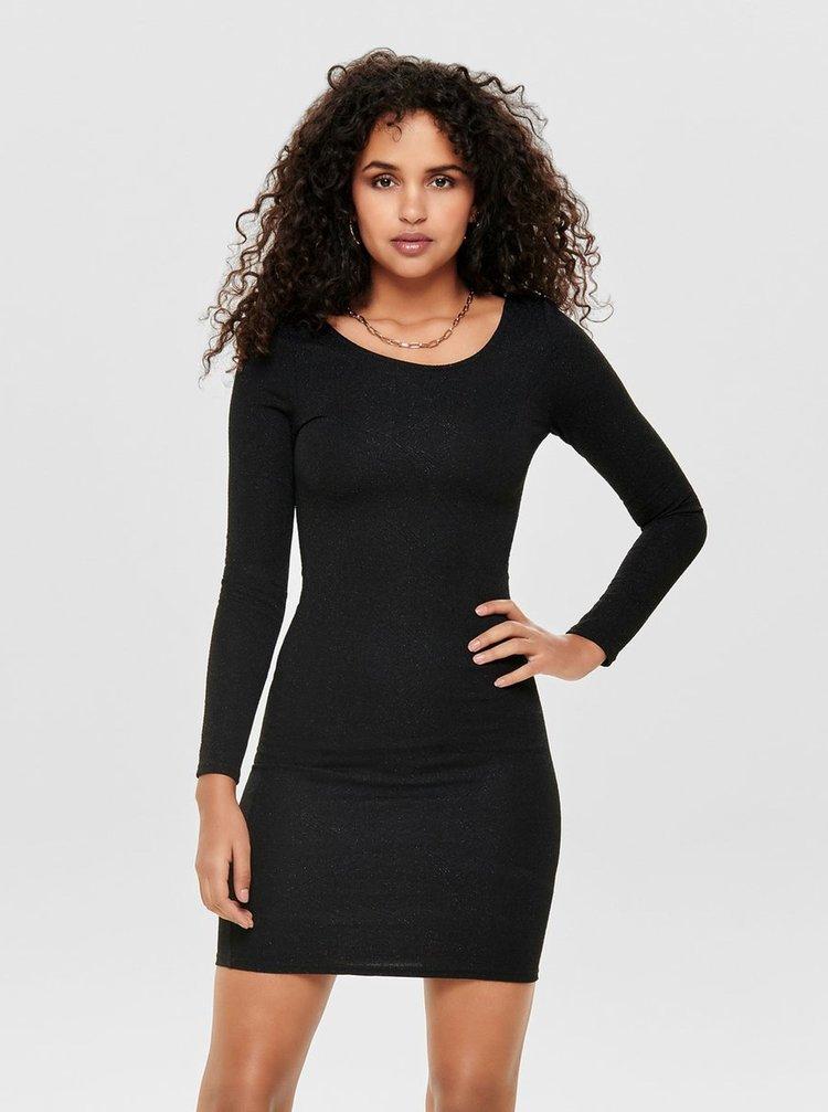 Černé pouzdrové vzorované šaty s průstřihem na zádech ONLY Shine