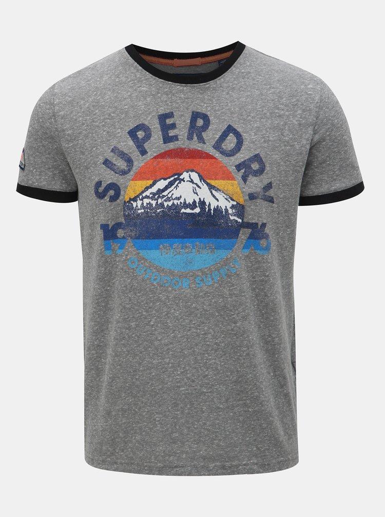 Tmavě šedé pánské žíhané tričko s potiskem Superdry