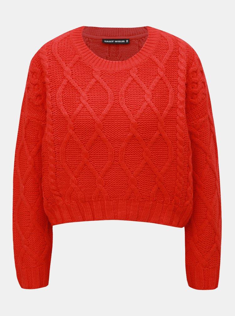 Červený sveter s dlhým rukávom TALLY WEiJL
