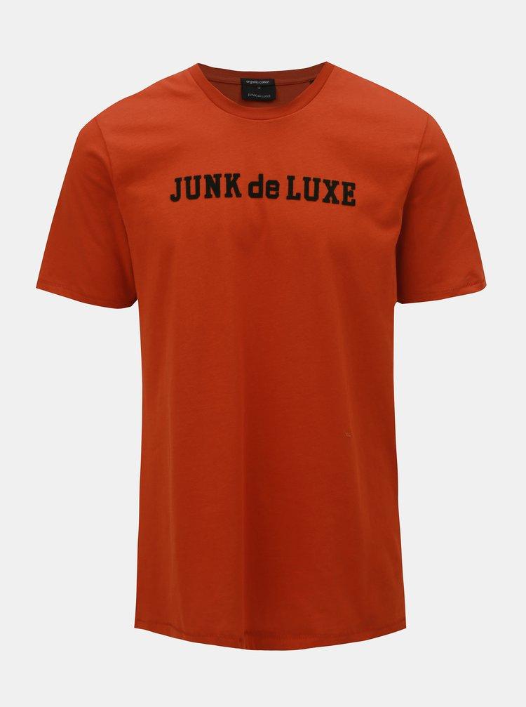 Oranžové tričko s kulatým výstřihem JUNK de LUXE