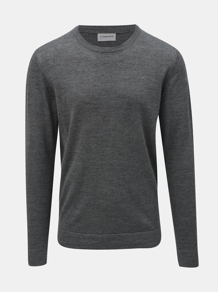 Sivý sveter z merino vlny Lindbergh