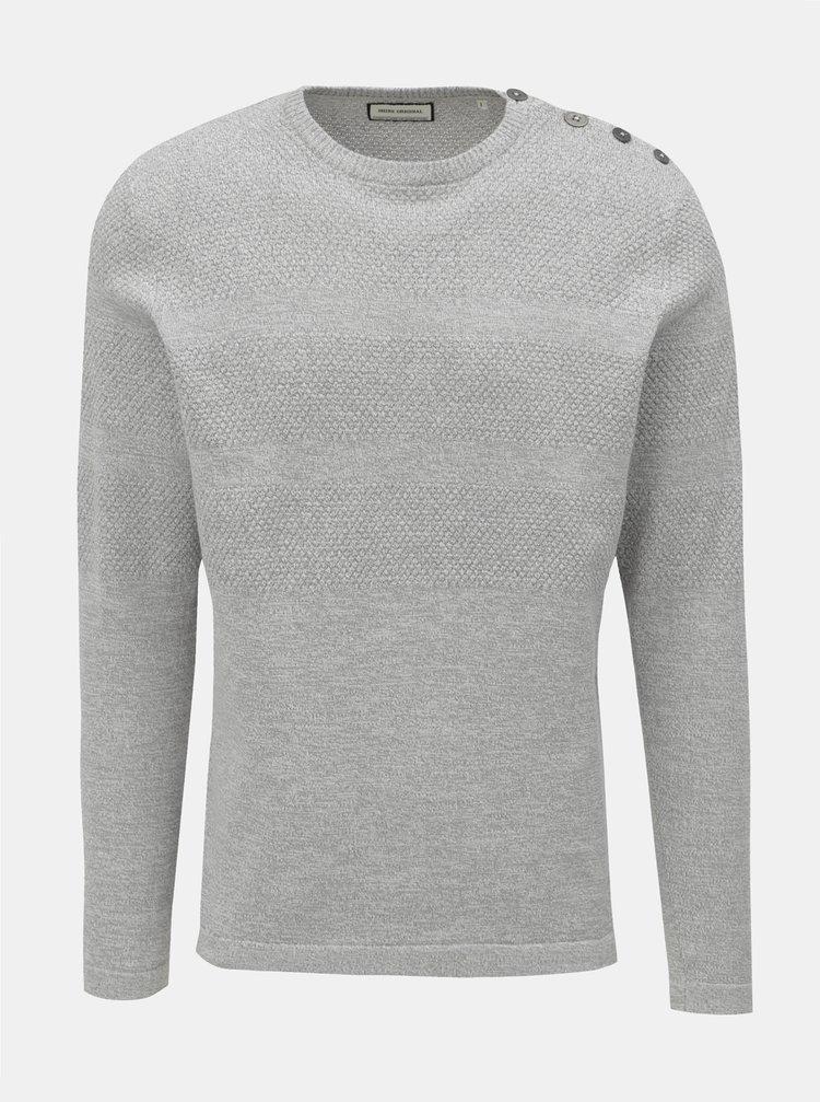 Svetlosivý vzorovaný sveter s gombíkmi pri krku Shine Original
