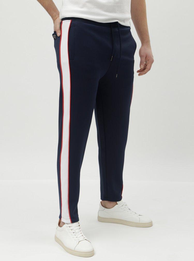 Pantaloni sport albastru inchis cu dungi laterale Shine Original Track