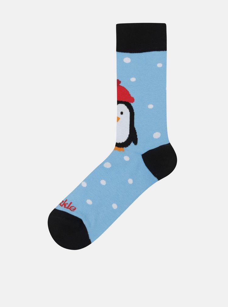 Sosete unisex albastru deschis cu motiv penguin Fusakle Pingu