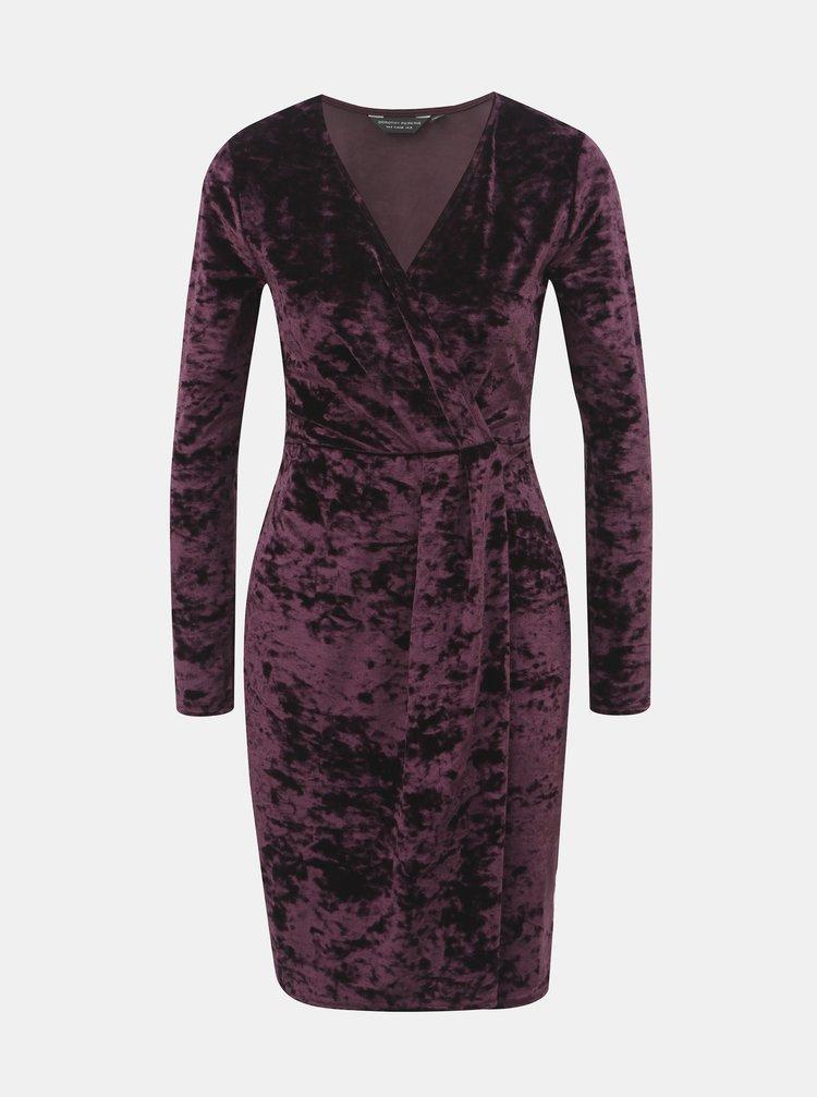 Fialové sametové šaty s překládaným výstřihem Dorothy Perkins