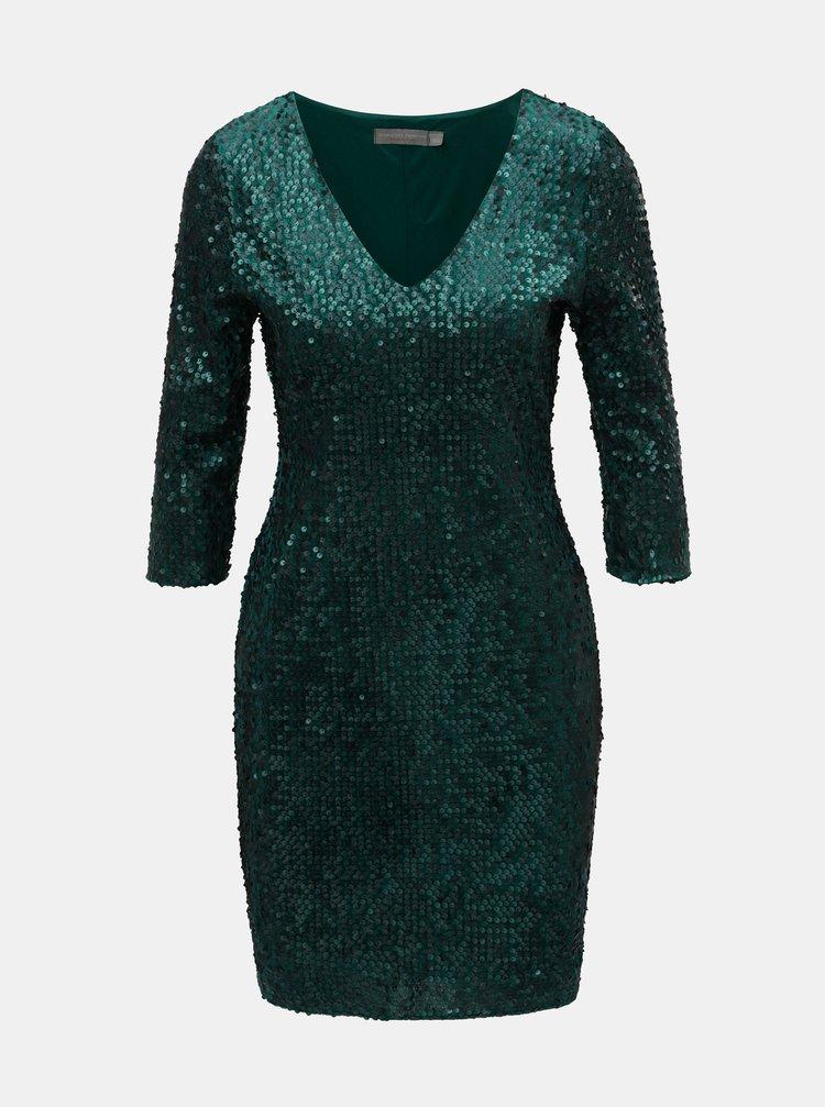 Tmavozelené flitrované šaty s 3/4 rukávom Dorothy Perkins Petite