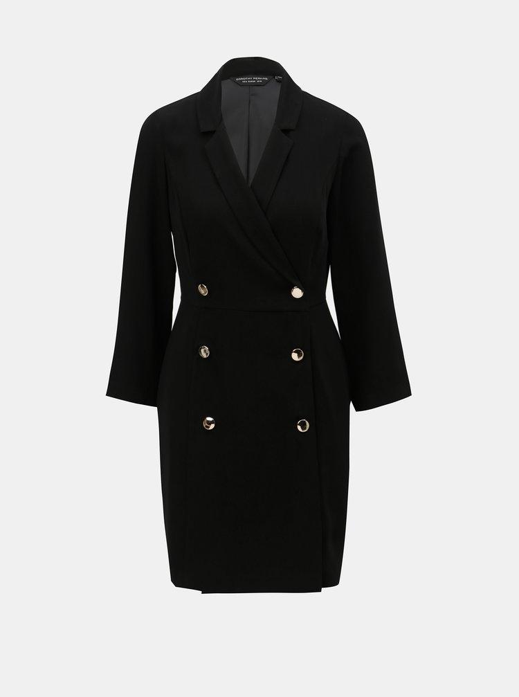 Čierne šaty s gombíkmi v zlatej farbe Dorothy Perkins