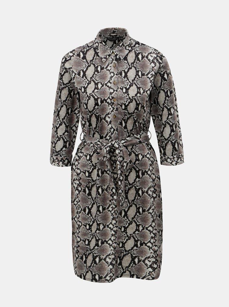 Krémové košilové šaty s hadím vzorem Dorothy Perkins