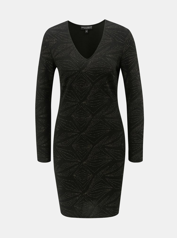 Čierne šaty s metalickým vláknom Dorothy Perkins